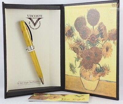 VISCONTI VAN GOGH IMPRESSIONIST SUNFLOWER WITH SILVER PLATED  BALL POINT PEN !!!
