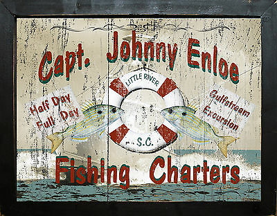 Personalized Vintage Style Nautical Beach Ocean Fishing Charters Wall Art
