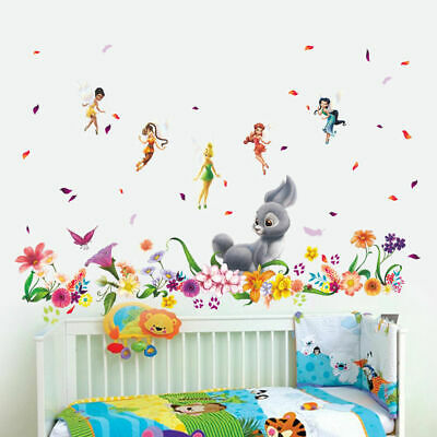 Tinkerbell Fairies Wall Art Stickers Girls Nursery Decor Art Flowers Rabbit Gift