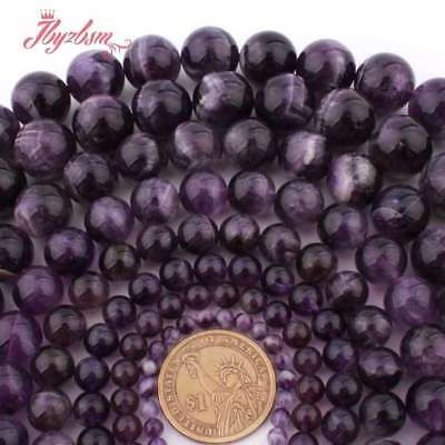 """6-12mm Natural Smooth Round Purple Dream Amethyst for Women Jewerly Making 15"""""""
