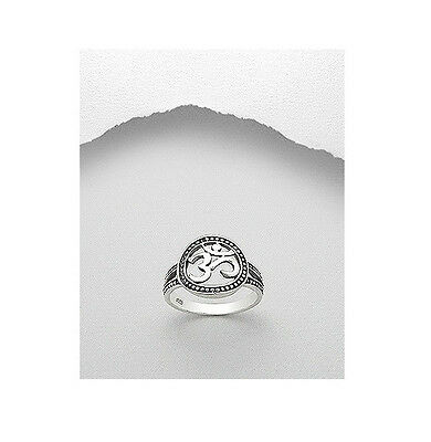Sterling Silver .925 Om Ohm Aum Open Carved Fashion Ring Sizes 6-9