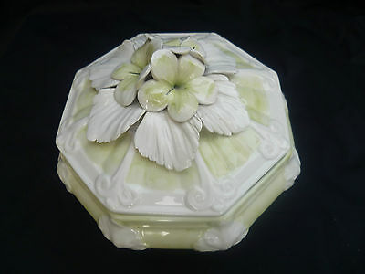 Tureen Italy small Lidded ceramic Stunning Flower incrusted