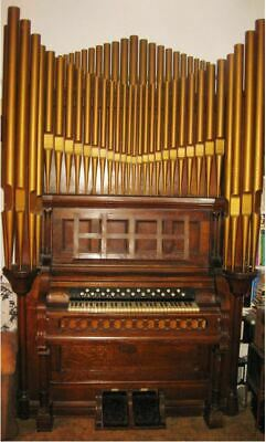 Antique Pipe Organ 1884 by Clough & Warren Company 9 Feet High Aged Solid Oak