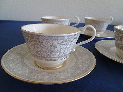 FRANCISCAN RENAISSANCE GREY GOLD TRIM 4 CUPS AND SAUCERS