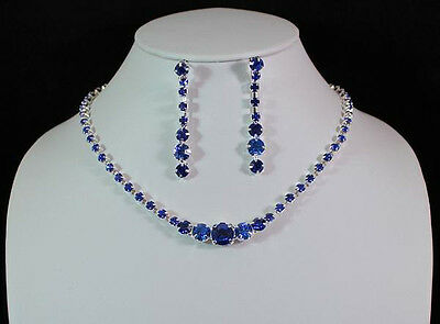 BEAUTIFUL AUSTRIAN RHINESTONE CRYSTAL NECKLACE EARRINGS SET N1392- ROYAL BLUE
