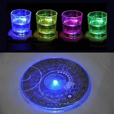 Hot Color Changing LED Lights Bottle Cup Mat Coaster For Clubs, Bars Party