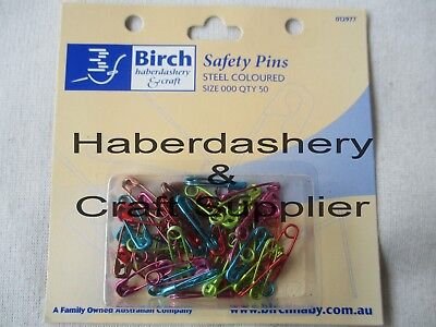 Safety Pins 000 Pack Of 50 Colored