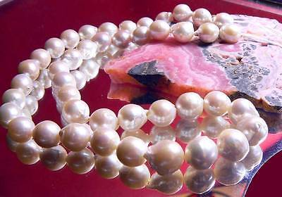 "RARE GENUINE WHITE BAROQUE FLAMEBALL NUCLEATED PEARL 10-12mm 17"" STRAND"