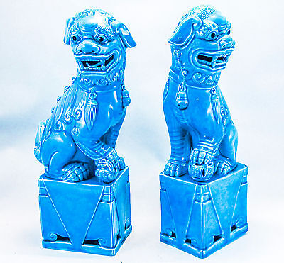 ANTIQUE CHINESE FOO FU DOGS TURQUOISE LARGE 12inches TALL