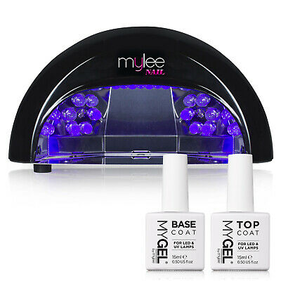 Gel Polish Nail Manicure Kit Bluesky Top Base Coat Mylee LED 12W Lamp Dryer Set