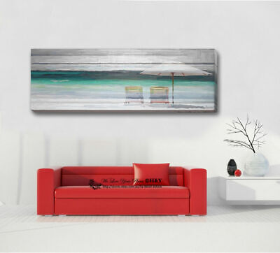 40x100x3cm Beach View FRAMED Stretched Canvas Print Wall Art Home Decor Painting