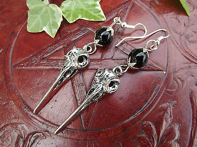 Skull & Black Onyx 925 Sterling Silver Earrings  Witchcraft Wicca Pagan Witch