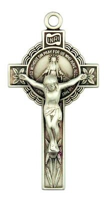 """Jesus Christ on Cross Sterling Silver 1 5/8"""" Miraculous Medal Crucifix Pendant"""