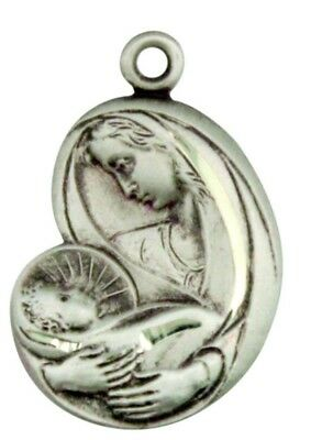 Madonna with Christ Child Medal 13/16 Inch Sterling Silver Saint St Mary Pendant