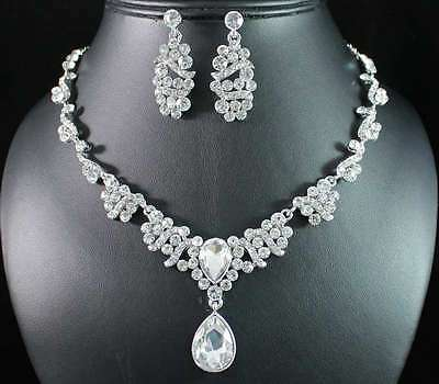 ELEGANT CLEAR AUSTRIAN RHINESTONE CRYSTAL NECKLACE EARRINGS SET WED BRIDAL N1753