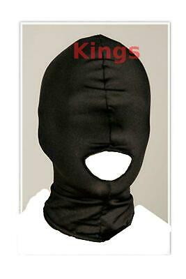 Spandex Hood Full Mask Open Mouth 1 Hole Stretchy Black Gimp Mask Hood