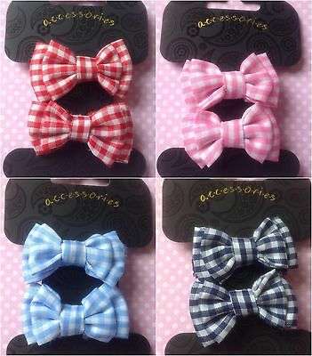 New Gingham Check Set 2 Bow Hair Ponio Ponytail Elastic Bobbles Girl School Cute