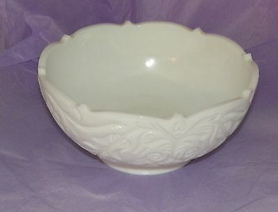 McKee White Milk Glass Scalloped Edge Salad Bowl  Unused and wsticker intact!