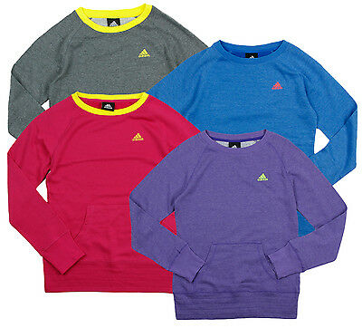 Adidas Youth Girl's Long Sleeve Pullover Crew Sweatshirt Sweater, Many Colors
