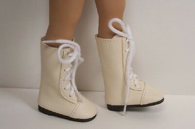 "CREAM LaceUp Boots Doll Shoes For Dianna Effner 13"" Little Darling Vinyl DEBs"