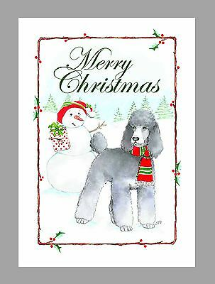 Poodle (Silver) Dog Christmas Cards, Box of 16 Cards & 16 Envelopes