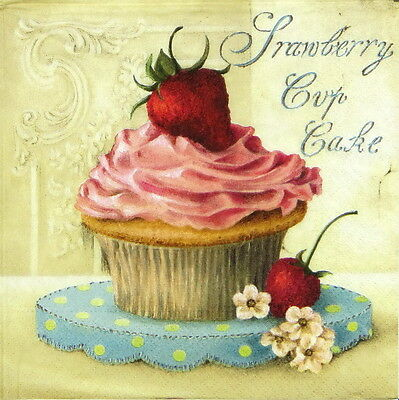 4x Single Table Party Paper Napkins for Decoupage Vintage Strawberry Cup Cake
