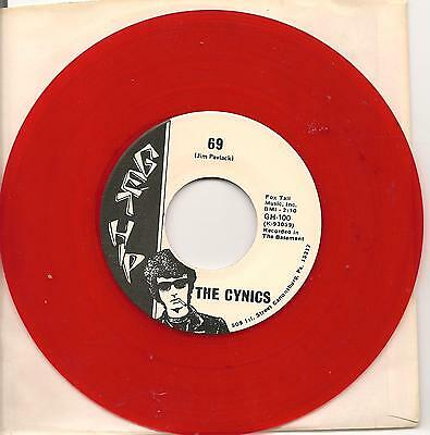 THE CYNICS, 90s garage 45, 69 on RED vinyl Get Hip 100, fan club issue