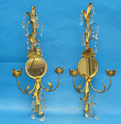 PAIR of LARGE ELABORATE ANTIQUE METAL TOLE GILDED CANDLE SCONCE w/ MIRROR ~ 21""