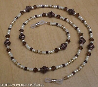 Taj Mahal Smoke Topaz Austrian Crystal Brown / Gold Bead Mix Eyeglass Chain