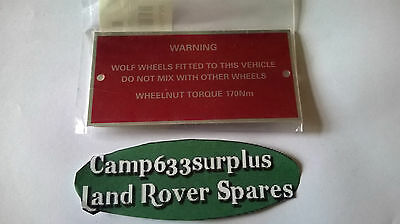 Land Rover Wolf Warning Plate. Part GMO-002,
