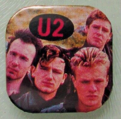 U2 EARLY GROUP PHOTO VINTAGE SQUARE SHAPED METAL PIN BADGE FROM THE 1980's
