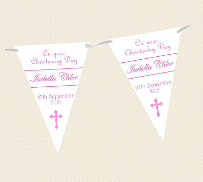 PERSONALISED CHRISTENING/NAMING DAY/BAPTISM CROSS BUNTING/BANNER - 6 colours
