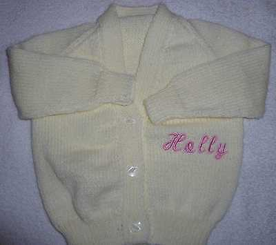 Personalised Baby Cardigan. Choice of Colours and Sizes