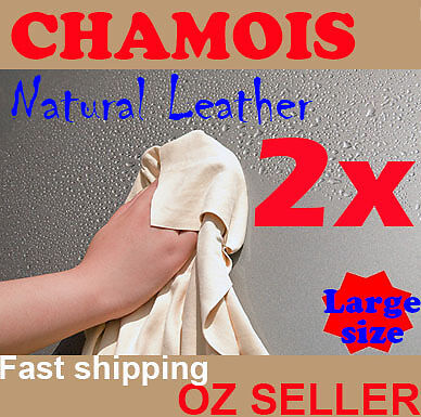 2x NATURAL Real Leather CHAMOIS SHAMMY Car wash  clean large 60cmx80cm