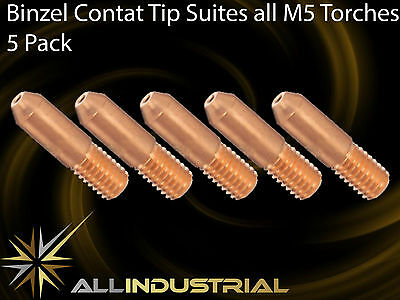 Binzel MIG Contact Tip MB14 - 0.9mm - Suits all M5 Torches M5x5mmx0.9mm (5 Pack)