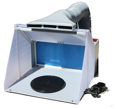 Portable Hobby Art Airbrush Paint Spray Booth Kit W/ Exhaust Filter & LED Light