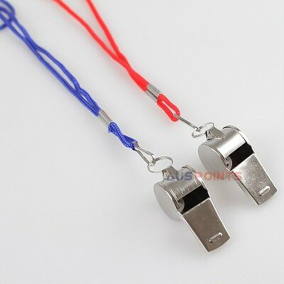 2 X Metal  Whistle for Sports Games  Indoor Outdoor  with Cord