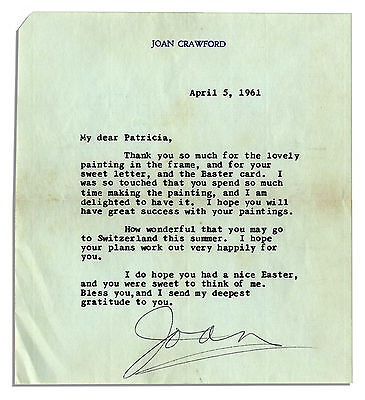 Joan Crawford 1961 Typed Letter Signed