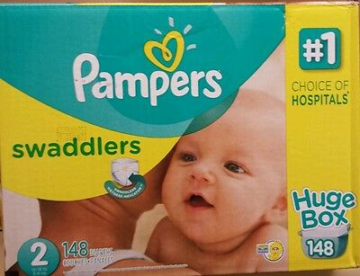 PAMPERS SWADDLERS HUGE DIAPERS BOX SIZE 2 . 12-18LB OR 5-8KG . 148 DIAPERS