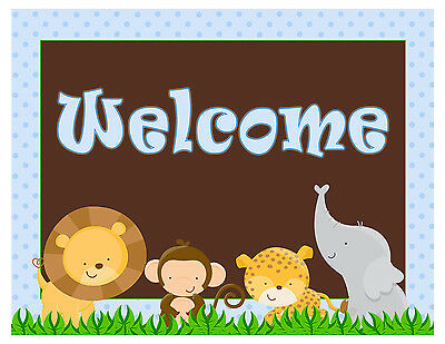 Personalized First 1st Birthday Party Baby Boy Shower Welcome Sign Blue Jungle