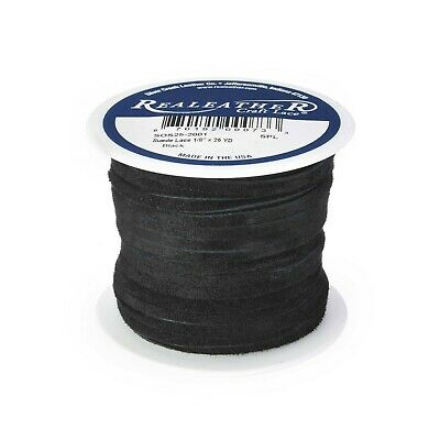"""Suede Lace Black 1/8"""" x 25 yds. by Silver Creek Real Leather Made in USA"""