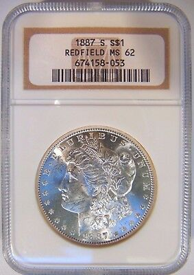 1887 S Morgan Silver Dollar $1 NGC MS 62 Redfield Hoard Pedigree Collection Coin