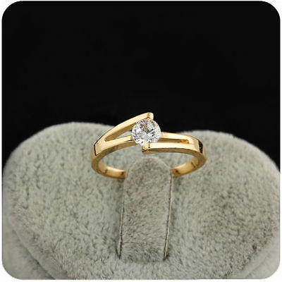 Fashion Lady's White Sapphire 18K Gold Plated Crystal Engagement Ring Size 7,8