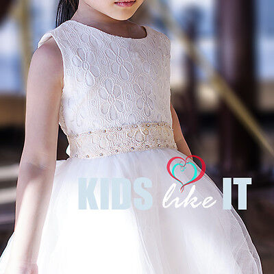 Girls Ivory White Vintage Lace Crystal Flower Girl Dress Party Birthday Wedding