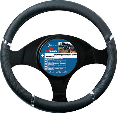 Speed Black & Chrome Steering Wheel Cover / Glove - Universal 37-39Cm