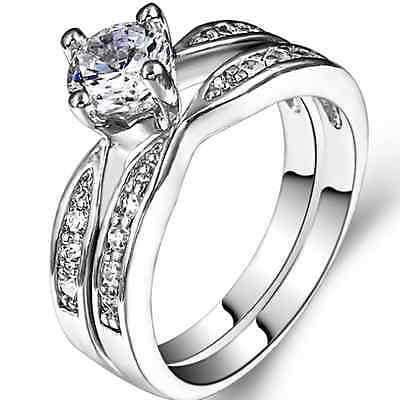 Size 4 5 6 7 8 9 10 11 Silver Plated Wedding Engagement Ring Two Pieces Set Band