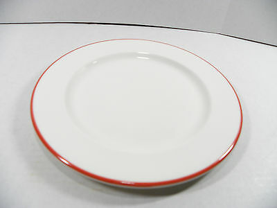 ROYAL DOULTON HOTEL PORCELAIN WHITE W/RED BAND DECORATION 10 INCH DINNER PLATES