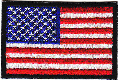 AMERICAN FLAG w/BLACK BORDER-USA-PATRIOTIC/Iron On Embroidered Applique Patch