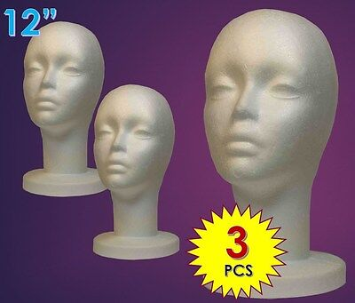 "Wig Female Styrofoam Head Foam Mannequin Display 12"" (3Pcs)"