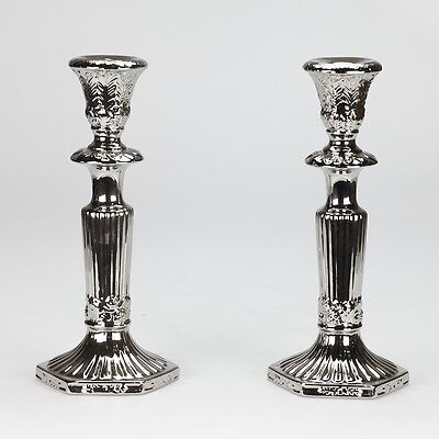 NEW Candlestick set Pair of Candle stick holder Silver plated Porcelain 27cm 10""